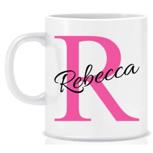 Personalised Name and Initial Mug Initial behind name