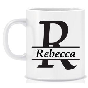 Personalised Name and Initial Mug Split Design