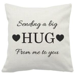 Novelty cushion sending a big hug