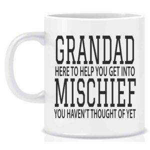 Novelty Mug Grandad here to help you get into mischiefNovelty Mug Grandad here to help you get into mischief