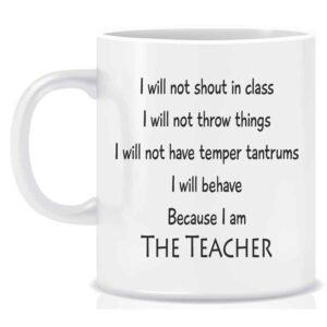 Novelty Teachers Mug I will not shout in class